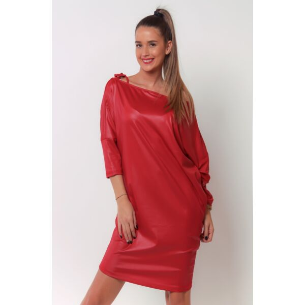 Latex hatású piros mini ruha