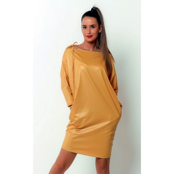 Latex hatású sárga mini ruha