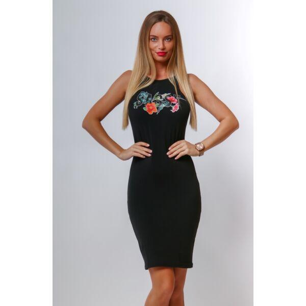 SASSY feliratos fekete mini ruha