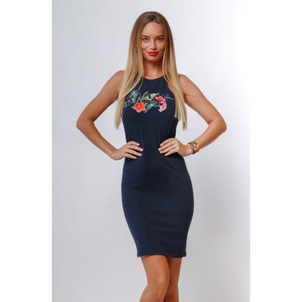 SASSY feliratos sötétkék mini ruha