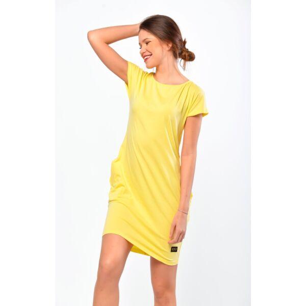 Oldalzsebes sárga mini ruha