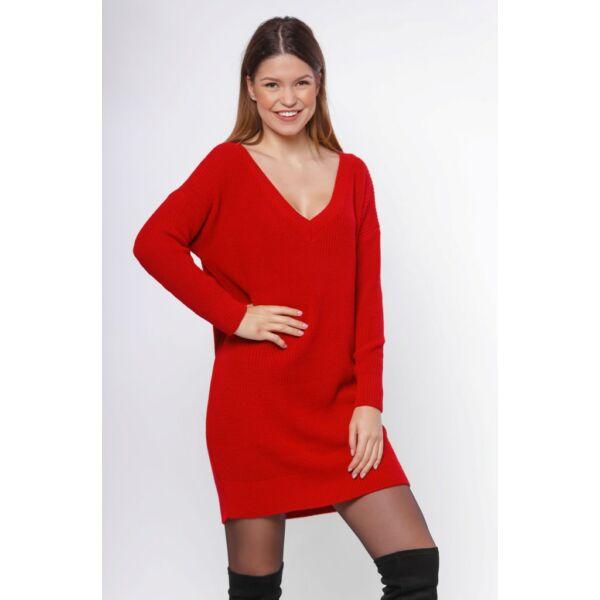 Bő szabású piros kötött pulóver