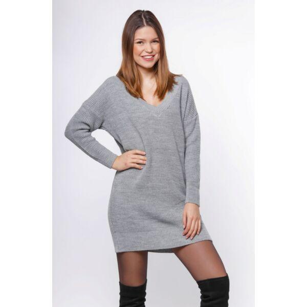 Bő szabású szürke kötött pulóver