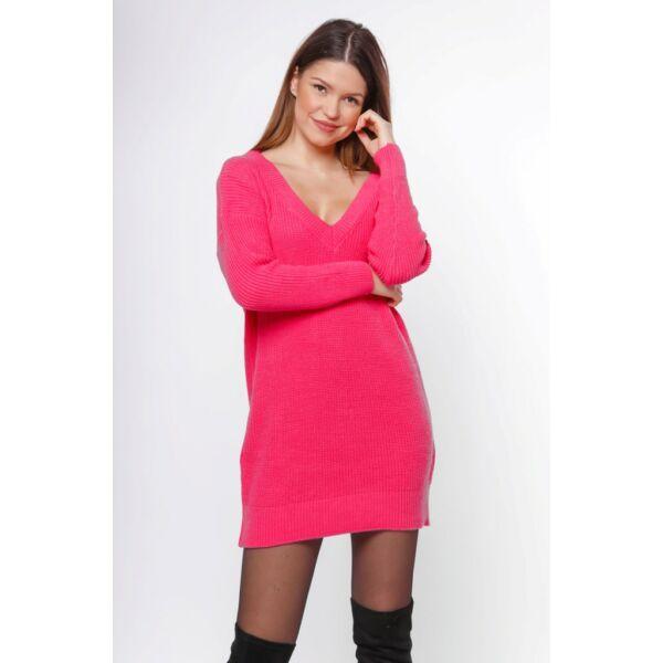 Bő szabású pink kötött pulóver