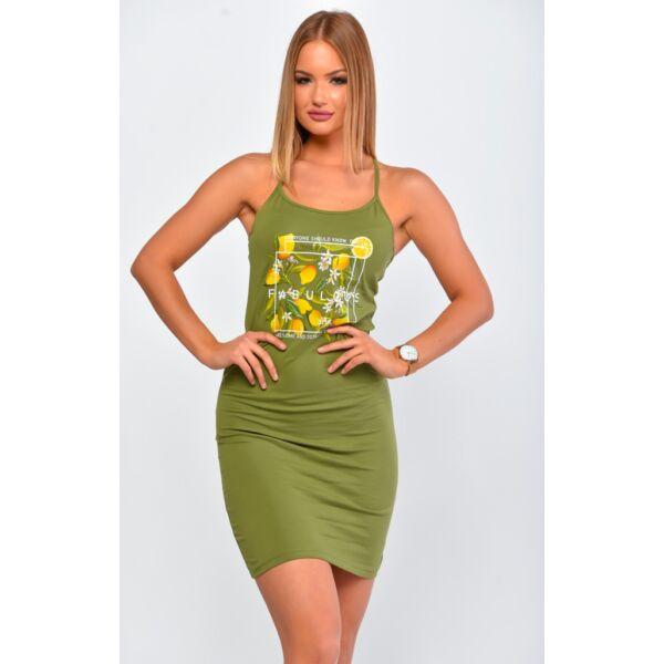 Spagetti pántos khaki zöld ruha