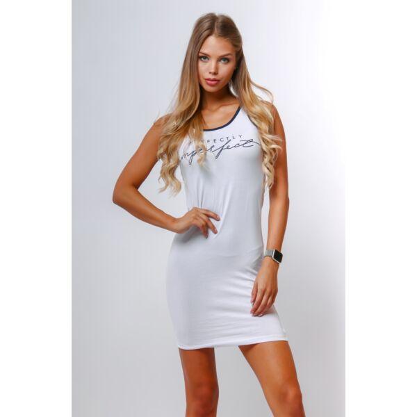 Nyomott mintás fehér mini ruha