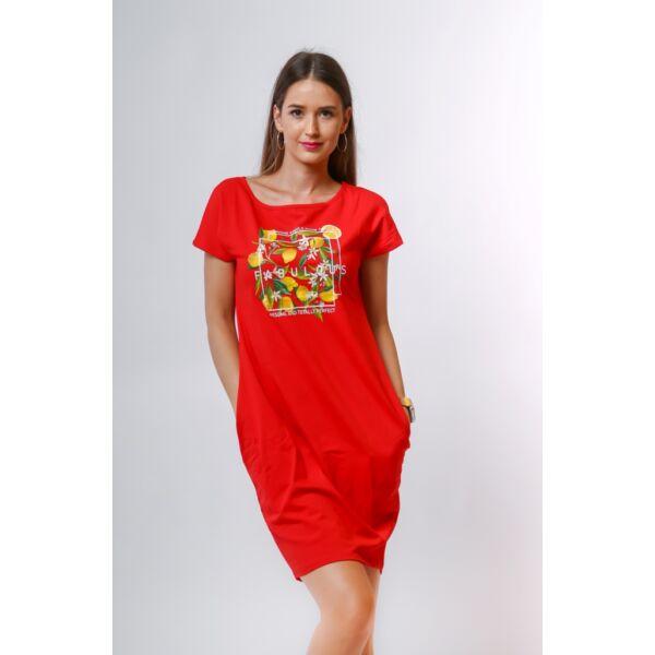 Oldalzsebes piros mini ruha nyomott mintával