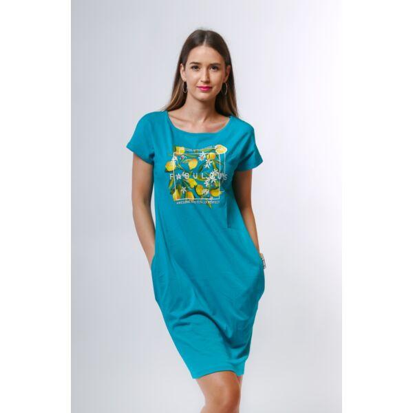 Oldalzsebes petrol kék mini ruha nyomott mintával