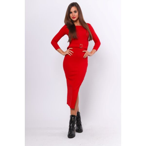 Aszimetrikus aljú midi piros ruha