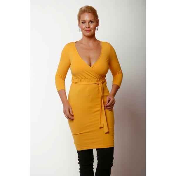 Átlapolt mustár sárga ruha