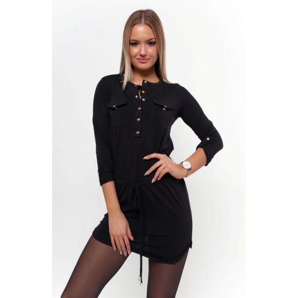 Felgombolható ujjú ,dekoltázsnál gombolható fekete tunika/ruha
