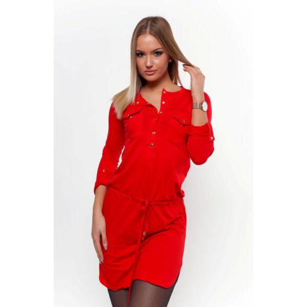 Felgombolható ujjú ,dekoltázsnál gombolható piros tunika/ruha