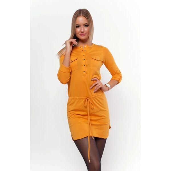 Felgombolható ujjú ,dekoltázsnál gombolható mustár sárga tunika/ruha