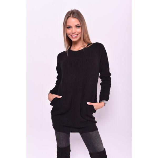 Fekete Zsebes kötött pulcsi