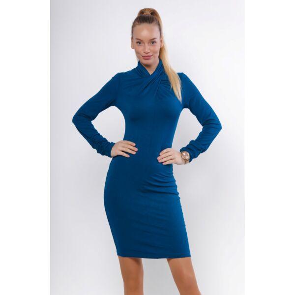 Csavart nyakú kék ruha