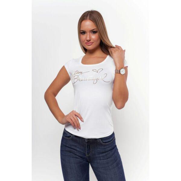 Stay Beautifull nyomott mintás  fehér póló