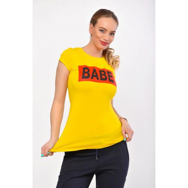 BABE  nyomott mintás  sárga póló