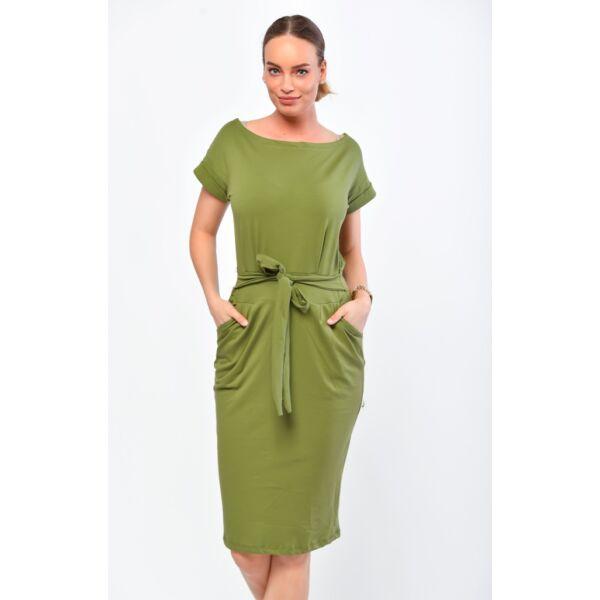 Khaki zöld  zsebes,öves ruha