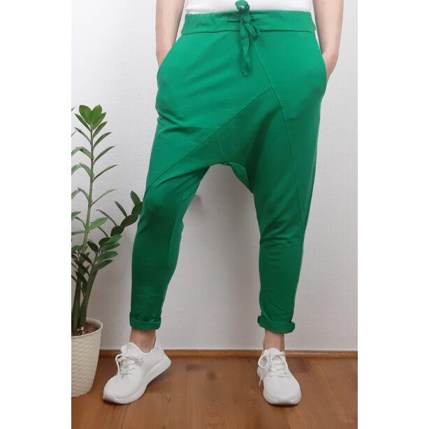 Ülepes vékony pamut zöld nadrág