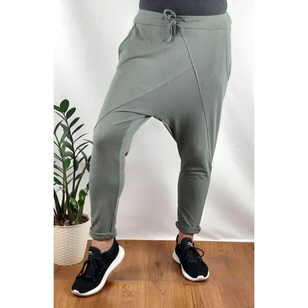 Ülepes vékony pamut khaki zöld nadrág
