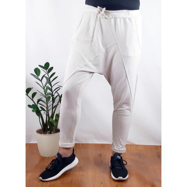 Ülepes vékony pamut drapp nadrág