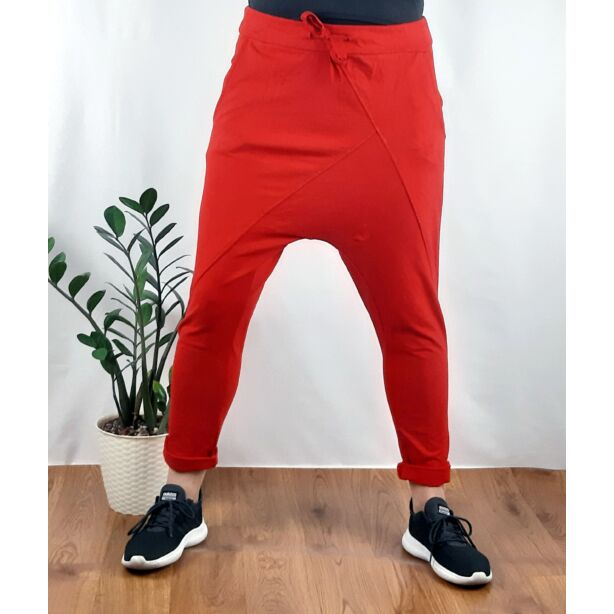 Ülepes vékony pamut piros nadrág