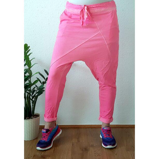 Ülepes vékony pamut neon pink nadrág