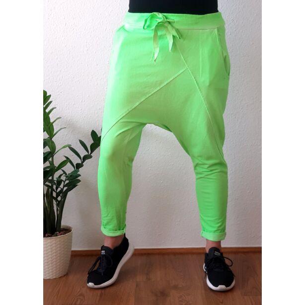 Ülepes vékony pamut neon zöld nadrág