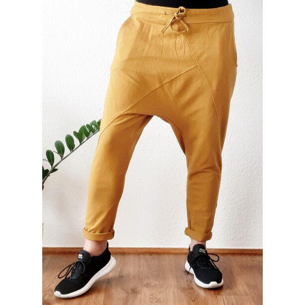 Ülepes vékony pamut mustár sárga nadrág
