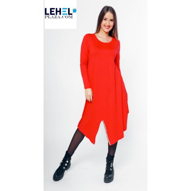 Aszimmetrikus aljú piros tunika/ ruha