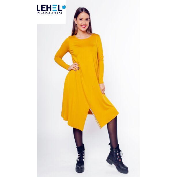Aszimmetrikus aljú mustár sárga  tunika/ ruha