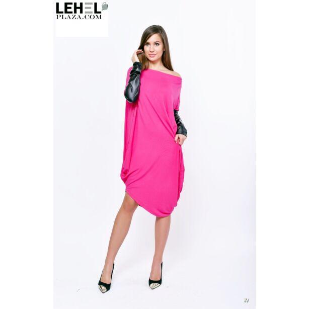 Aszimmetrikus, ujján bőrbetétes pink tunika/ruha.