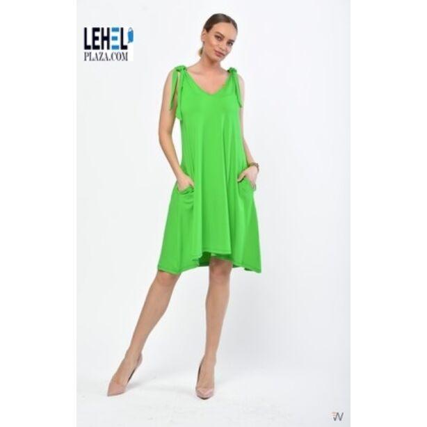 Ujjatlan lefelé bővülő zöld ruha