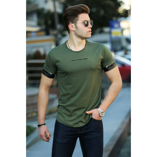 Extravagáns egyedi khaki zöld póló