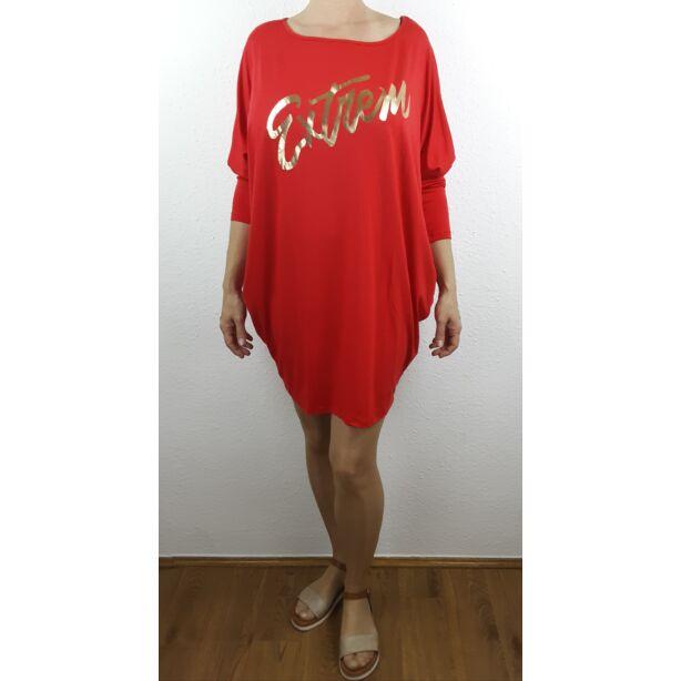 Extrem arany nyomott mintás piros tunika/ruha