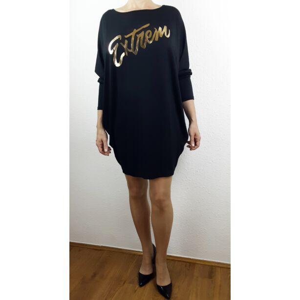 Extrem arany nyomott mintás fekete tunika/ruha