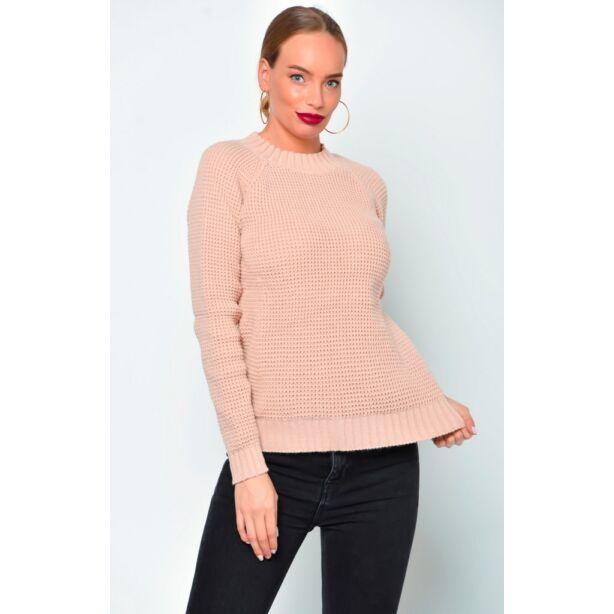 Púder színű kötött pulóver