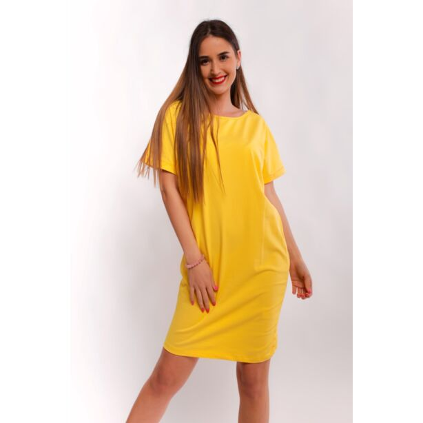 Csónaknyakú bő fazonú sárga ruha