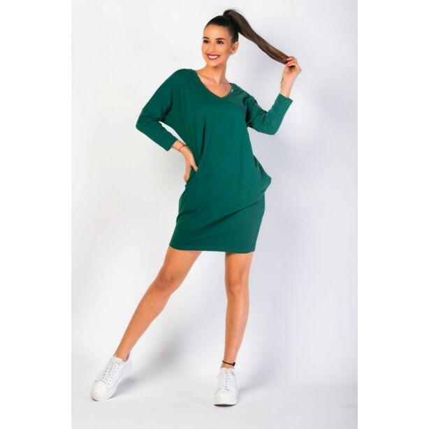 Oldal zsebes  sötétzöld laza mini ruha