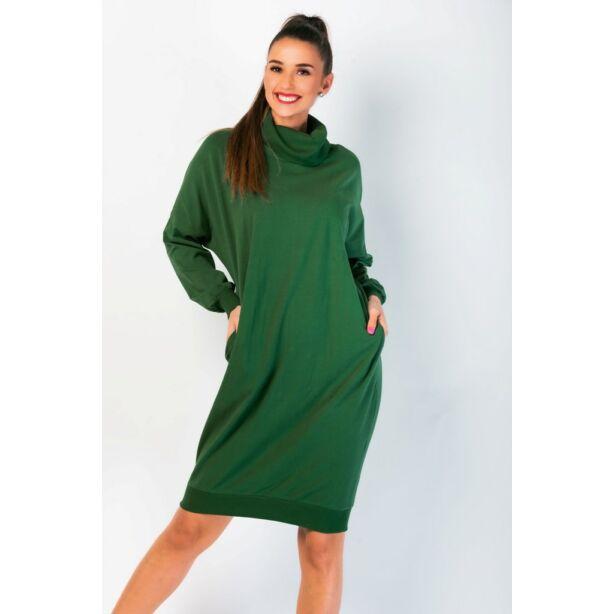 Magas nyakú bő fazonú sötétzöld ruha