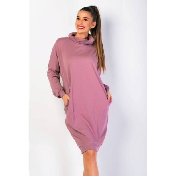 Magas nyakú bő fazonú mályva színű ruha
