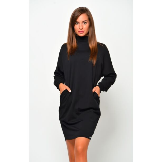 Félgarbós fekete ruha
