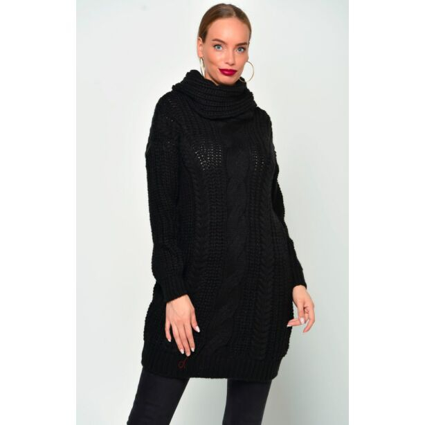 Kámzsás nyakú fekete pulóver
