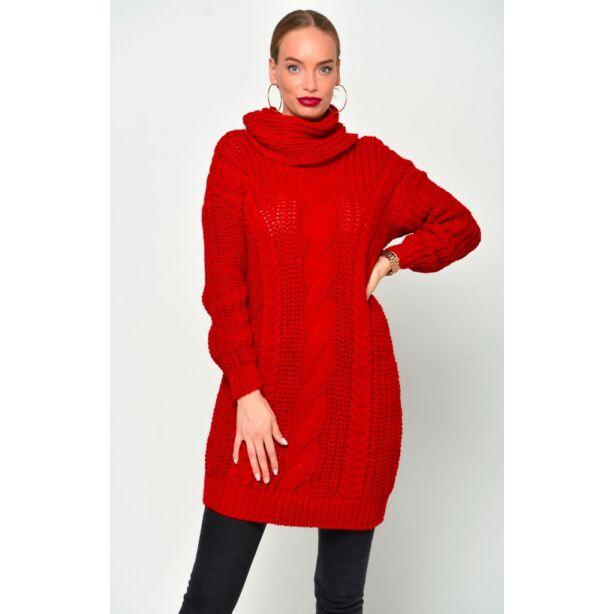 Kámzsás nyakú piros pulóver