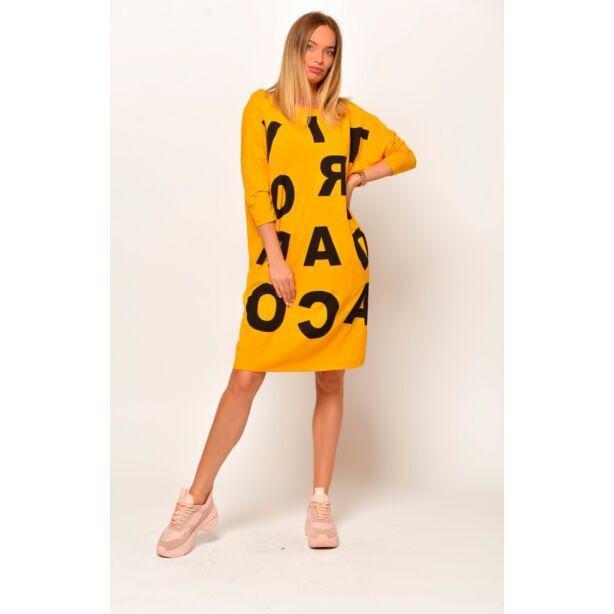 Elől nagy betűs mustár sárga zsebes ruha/tunika