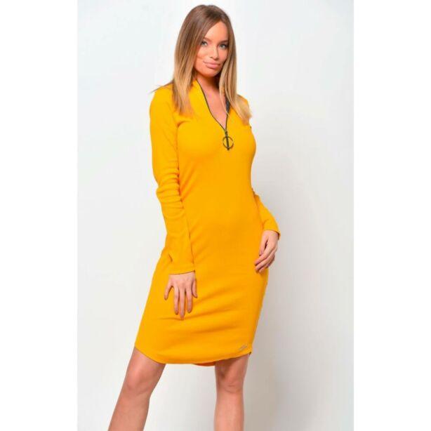 Cipzáros mustársárga ruha