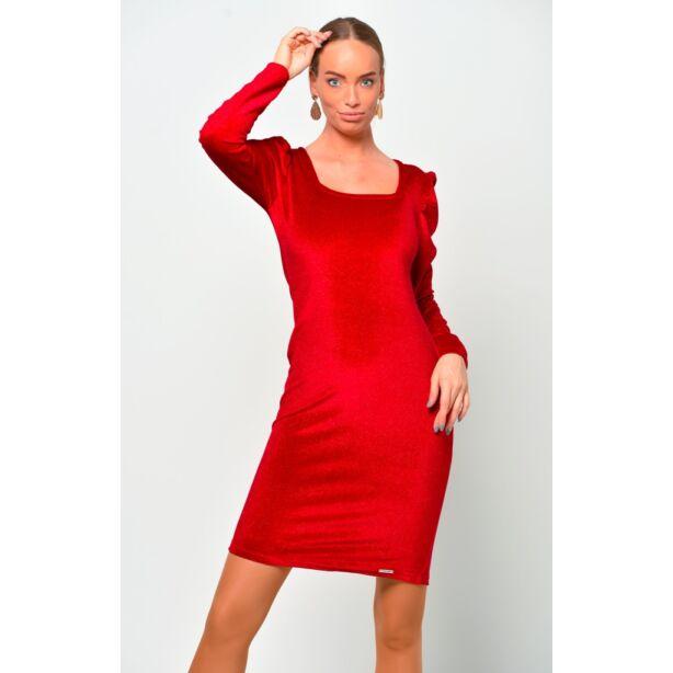 Puffos ujjú csillámos piros bársony ruha