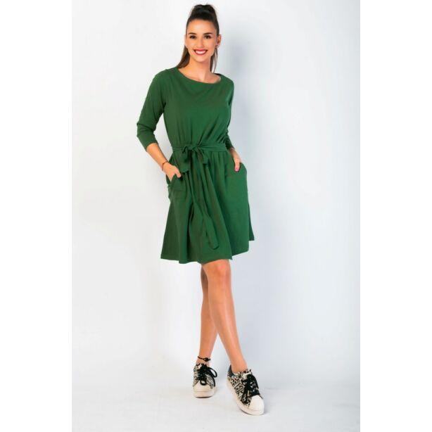 A vonalú zsebes sötétzöld ruha