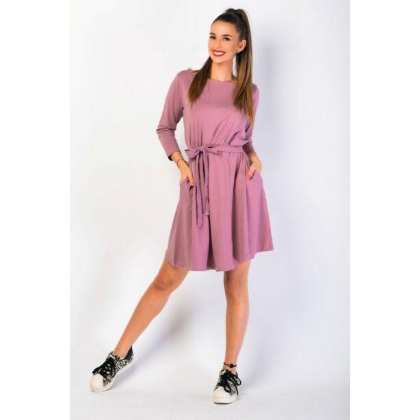 A vonalú zsebes mályva színű ruha