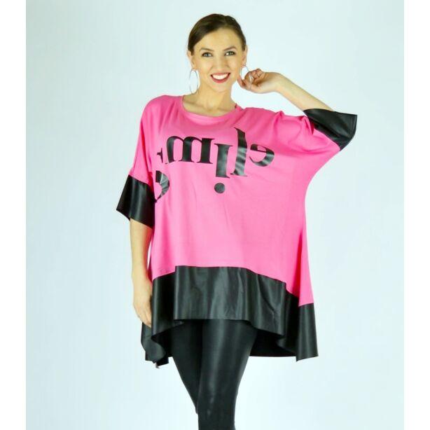 Pink SMILE feliratos extra bő fazonú felső/tunika